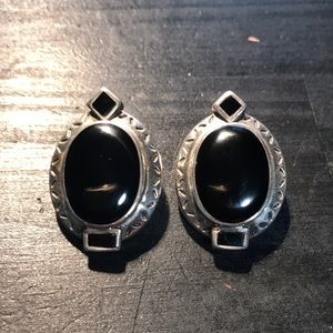 Jewelry - Fabulous sterling 925 and onyx clip earrings